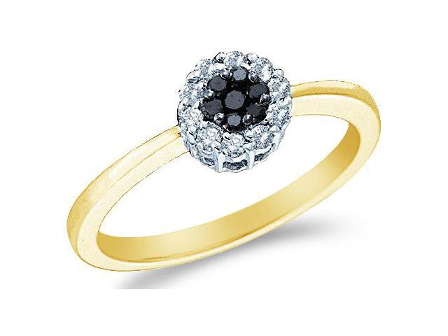 14k Yellow Gold Black and White Diamond Solitaire Style Channel Set Round Cut Diamond Engagement Ring  (1/4 cttw, H Color, I1 Clarity)