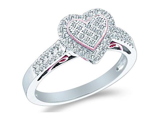 10k White Gold Heart Love Shape Center Pave Setting Round Cut Ladies Diamond Fashion Anniversary Ring Band 9mm (.30 cttw, H Color, I1 Clarity)