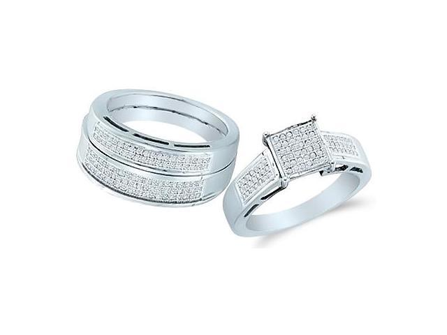 10k White Gold Trio 3 Three Ring Matching Engagement Wedding Ring Band Set - Round Diamonds - Micro Pave Princess Shape Center Setting (3/5 cttw, H Color, I1 Clarity)