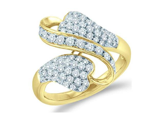 14k Yellow Gold Cross Over Channel Set Round Cut Ladies Diamond Fashion Anniversary Ring Band 17mm (.99 cttw, G - H Color, SI2 Clarity)