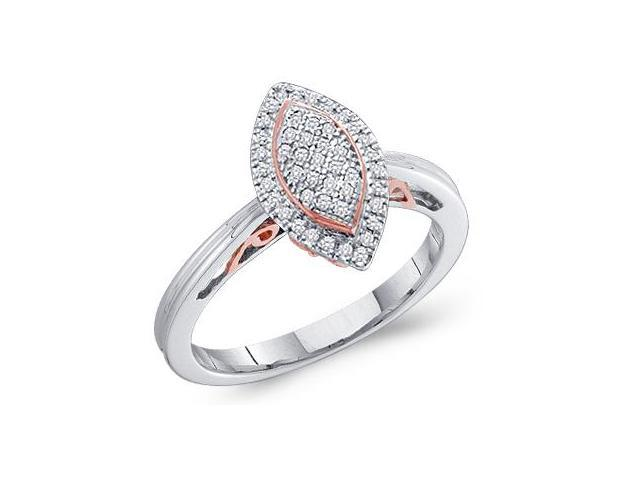10k White Gold Marquise Shape Center Micro Pave Setting Round Cut Diamond Engagement Ring 13mm (.15 cttw, H Color, I1 Clarity)