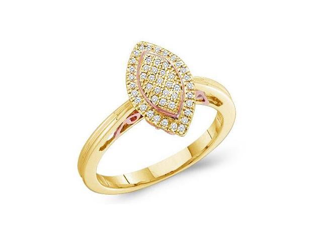 10k Yellow Gold Marquise Shape Center Micro Pave Setting Round Cut Diamond Engagement Ring 13mm (.15 cttw, H Color, I1 Clarity)