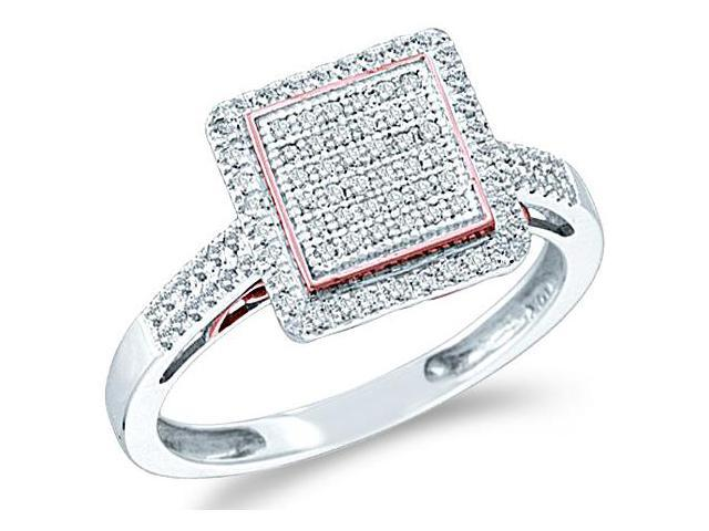 10k White Gold Princess Square Shape Center Micro Pave Setting Round Cut Diamond Engagement Ring 10mm (.30 cttw, H Color, I1 Clarity)