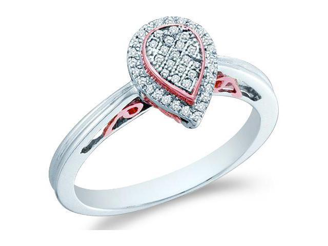 14k White Gold Pear Shape Center Micro Pave Setting Round Cut Diamond Engagement Ring 10mm (1/8 cttw, H Color, I1 Clarity)