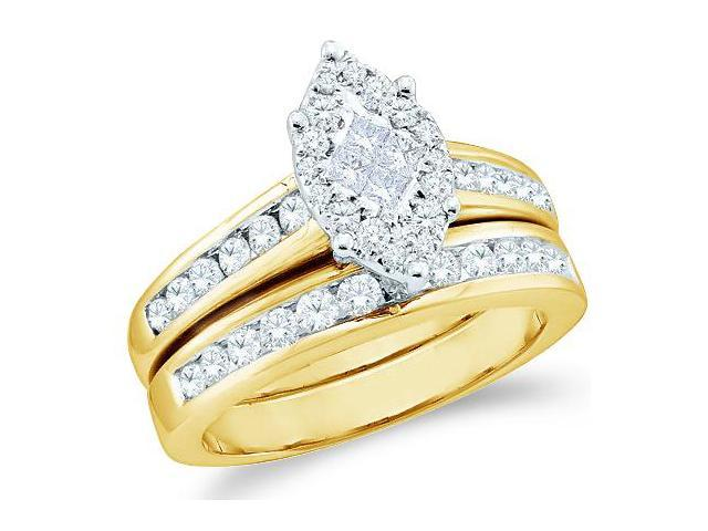 14k Yellow Gold Diamond Engagement Ring Wedding Band Two 2 Ring Set Solitaire Style Center Setting Marquise Shape CenterDiamond Ring (1.07 cttw, G - H Color, SI2 Clarity)