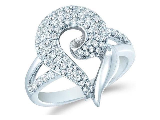 14k White Gold Heart Love Shape Channel Set Round Cut Ladies Diamond Fashion Anniversary Ring Band 20mm (.99 cttw, G - H Color, SI2 Clarity)