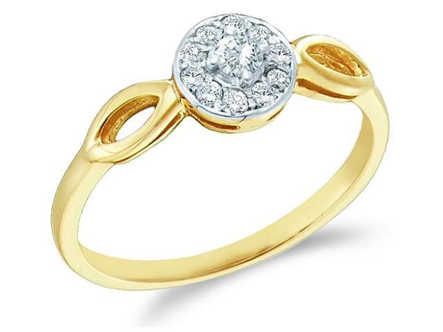 10k Yellow Gold Solitaire Halo Style with Side Stones Round Cut Diamond Engagement Ring 6mm (1/8 cttw, H Color, I1 Clarity)