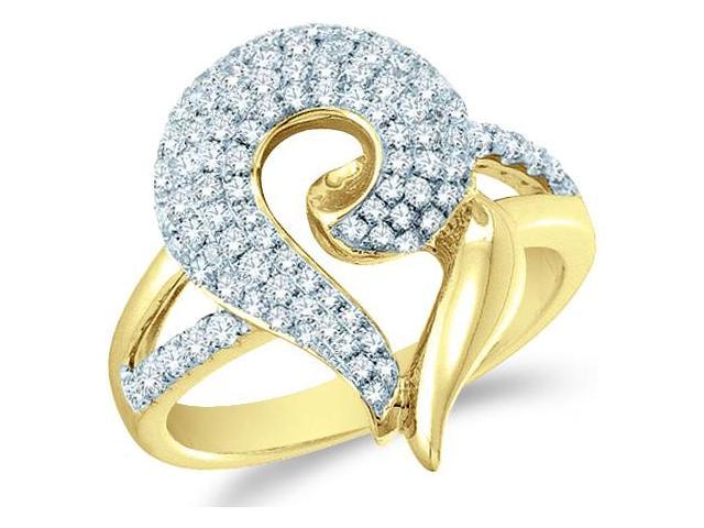 14k Yellow Gold Heart Love Shape Channel Set Round Cut Ladies Diamond Fashion Anniversary Ring Band 20mm (.99 cttw, G - H Color, SI2 Clarity)