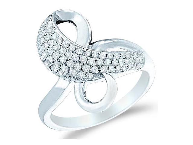 14k White Gold Bow Shape Round Cut Ladies Diamond Fashion Anniversary Ring Band 20mm (1/2 cttw, G - H Color, SI2 Clarity)