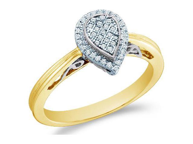 14k Yellow Gold Pear Shape Center Micro Pave Setting Round Cut Diamond Engagement Ring 10mm (1/8 cttw, H Color, I1 Clarity)