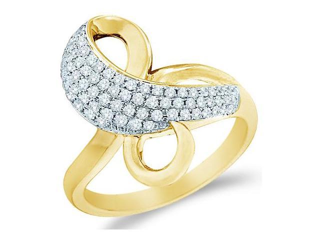 14k Yellow Gold Bow Shape Round Cut Ladies Diamond Fashion Anniversary Ring Band 20mm (1/2 cttw, G - H Color, SI2 Clarity)
