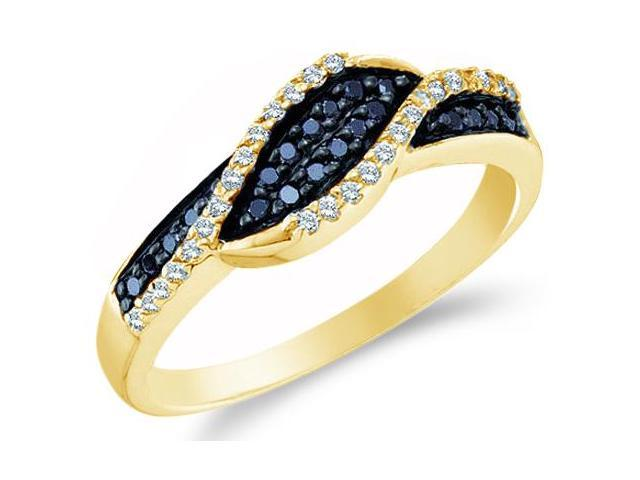14k Yellow Gold Cross Over Black and White Diamond Ladies Womens Anniversary Fashion Ring Band (1/4 cttw, G - H Color, I1 Clarity)
