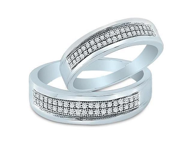 10k White Gold Mens and Ladies Couple His & Hers 2 Two Ring Matching Wedding Ring Band Set - Round Diamonds - Micro Pave Two Row (1/4 cttw, H Color, I1 Clarity)