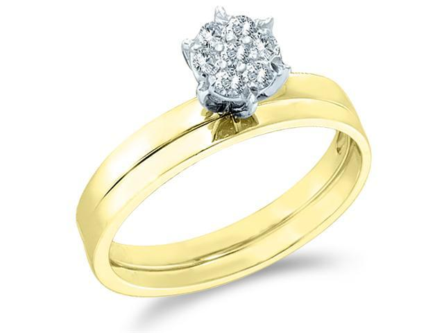 10k Yellow Gold Diamond Classic Traditional Engagement Ring w/ Plain Solid Wedding Band Solitaire Style Center Setting Pave Round Cut Diamond Ring 2mm (1/10 cttw, H Color, I1 Clarity)
