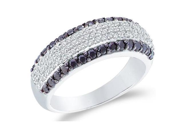 14k White Gold Black and White Diamond Channel Set Round Cut Womens Diamond Wedding Anniversary Ring Band  (.97 cttw, H Color, I1 Clarity)