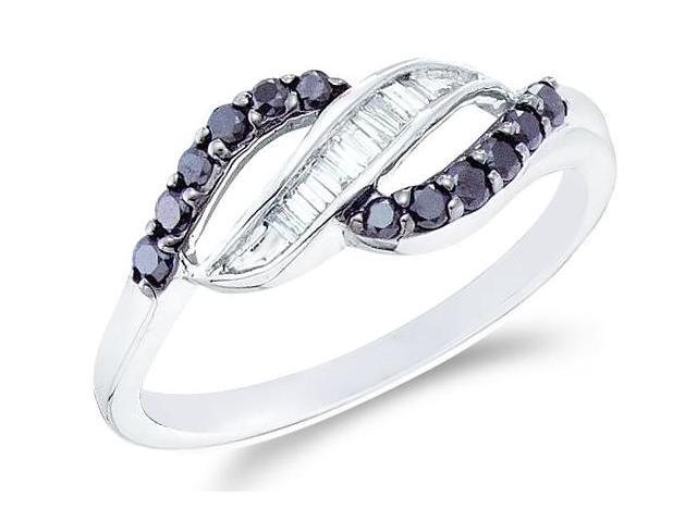 14k White Gold Black and White Diamond Channel Set Cross Over Round Cut & Baguette Ladies Diamond Fashion Anniversary Ring Band 7mm (1/3 cttw, H Color, I1 Clarity)