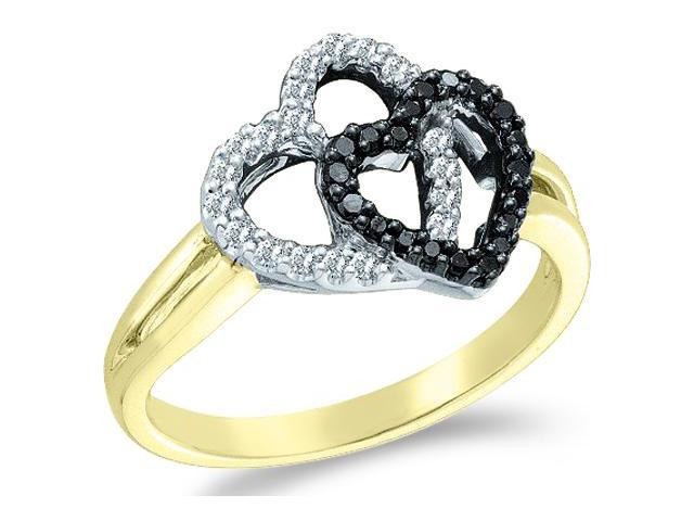 14k Yellow Gold Black Diamond and White Two 2 Heart Shape Love Round Cut Ladies Diamond Fashion Ring Band 12mm (.29 cttw, H Color, I1 Clarity)