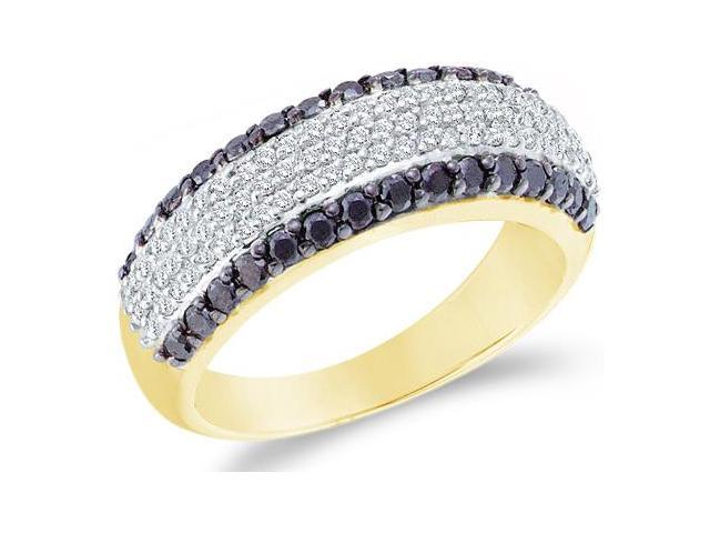 14k Yellow Gold Black and White Diamond Channel Set Round Cut Womens Diamond Wedding Anniversary Ring Band  (.97 cttw, H Color, I1 Clarity)