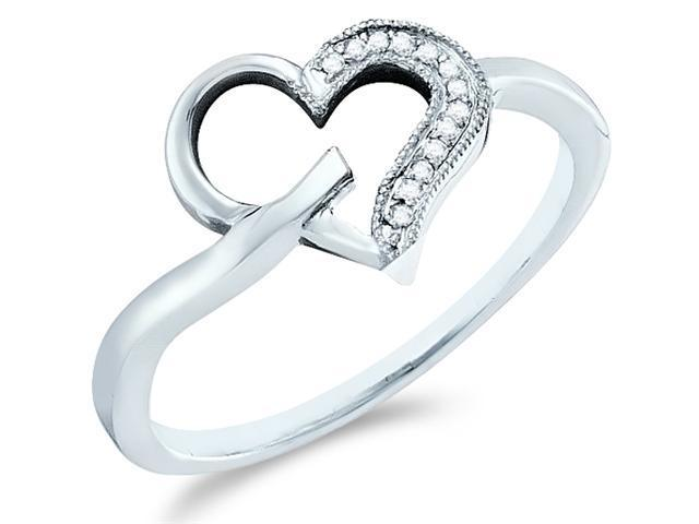 10k White Gold Heart Love Shape Pave Set Round Cut Ladies Diamond Fashion Anniversary Ring Band  (.04 cttw, H Color, I1 Clarity)