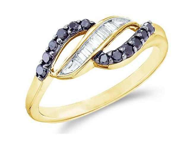 14k Yellow Gold Black and White Diamond Channel Set Cross Over Round Cut & Baguette Ladies Diamond Fashion Anniversary Ring Band 7mm (1/3 cttw, H Color, I1 Clarity)