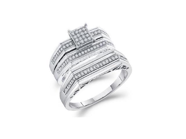 10k White Gold Trio 3 Three Ring Matching Engagement Wedding Ring Band Set - Round Diamonds - Micro Pave Princess Shape Center Setting (.30 cttw, H Color, I1 Clarity)