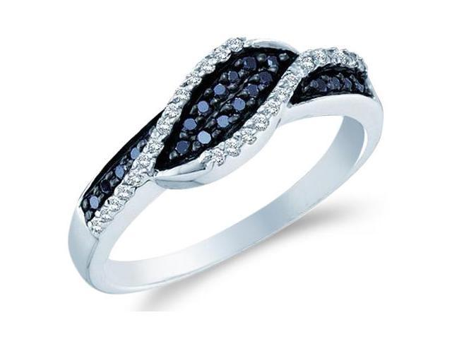 14k White Gold Cross Over Black and White Diamond Ladies Womens Anniversary Fashion Ring Band (1/4 cttw, G - H Color, I1 Clarity)