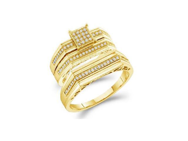 10k Yellow Gold Trio 3 Three Ring Matching Engagement Wedding Ring Band Set - Round Diamonds - Micro Pave Princess Shape Center Setting (.30 cttw, H Color, I1 Clarity)