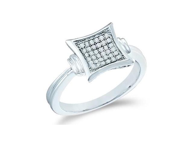 10k White Gold Princess Square Shape Center Micro Pave Setting Round Cut Diamond Engagement Ring 9mm (1/10 cttw, H Color, I1 Clarity)