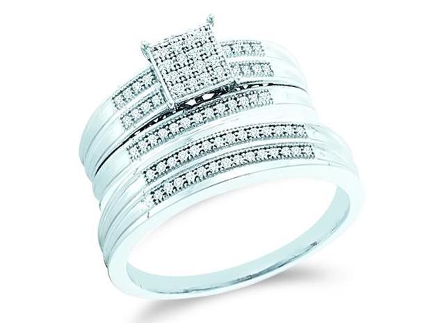 10k White Gold Trio 3 Three Ring Matching Engagement Wedding Ring Band Set - Round Diamonds - Micro Pave Princess Shape Center Setting (1/4 cttw, H Color, I1 Clarity)