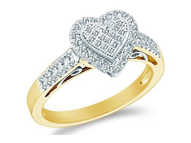 10k Yellow Gold Heart Love Shape Center Pave Setting Round Cut Ladies Diamond Fashion Anniversary Ring Band 9mm (.30 cttw, H Color, I1 Clarity)