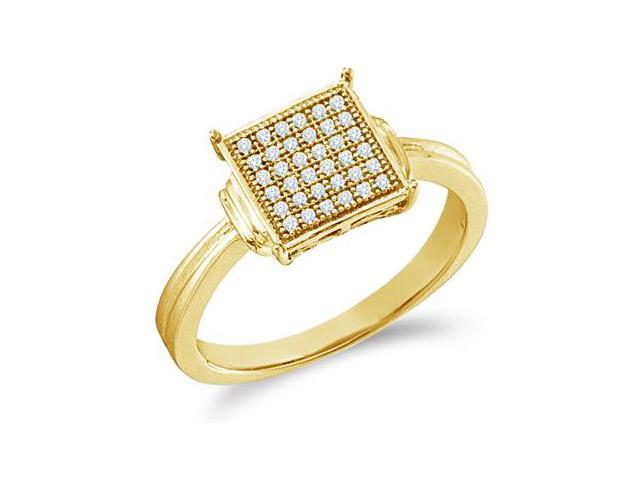 10k Yellow Gold Princess Square Shape Center Micro Pave Setting Round Cut Diamond Engagement Ring 9mm (1/10 cttw, H Color, I1 Clarity)