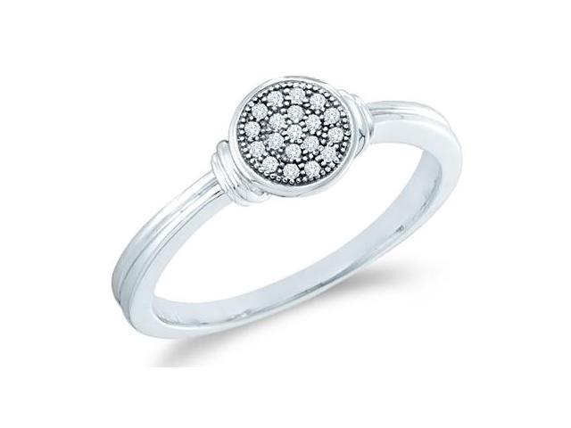 10k White Gold Round Shape Center Micro Pave Setting Round Cut Diamond Engagement Ring 5mm (.05 cttw, H Color, I1 Clarity)