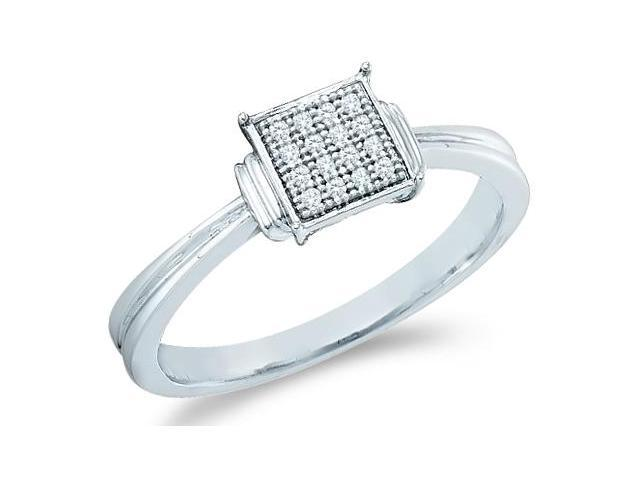 10k White Gold Princess Square Shape Center Micro Pave Setting Round Cut Diamond Engagement Ring 6mm (.05 cttw, H Color, I1 Clarity)