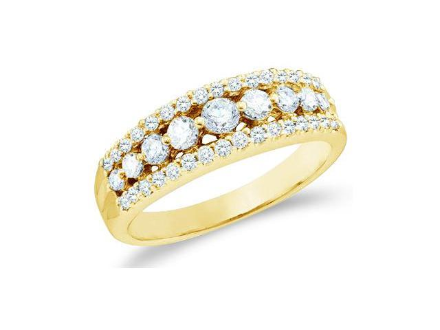 14k Yellow Gold Round Cut Diamond Channel Set Ladies Womens Wedding or Anniversary Ring Band (3/4 cttw, G - H Color, SI2 Clarity)