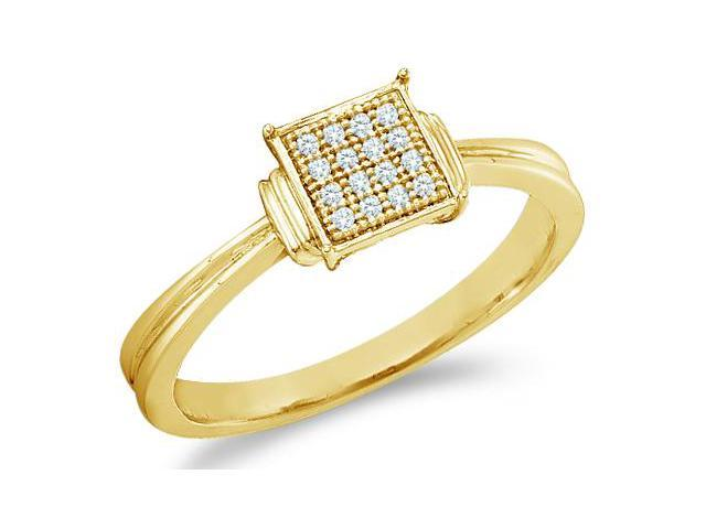 10k Yellow Gold Princess Square Shape Center Micro Pave Setting Round Cut Diamond Engagement Ring 6mm (.05 cttw, H Color, I1 Clarity)