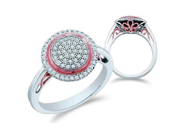 10k White Gold Round Shape Center Micro Pave Setting Round Cut Diamond Engagement Ring  (1/4 cttw, H Color, I1 Clarity)