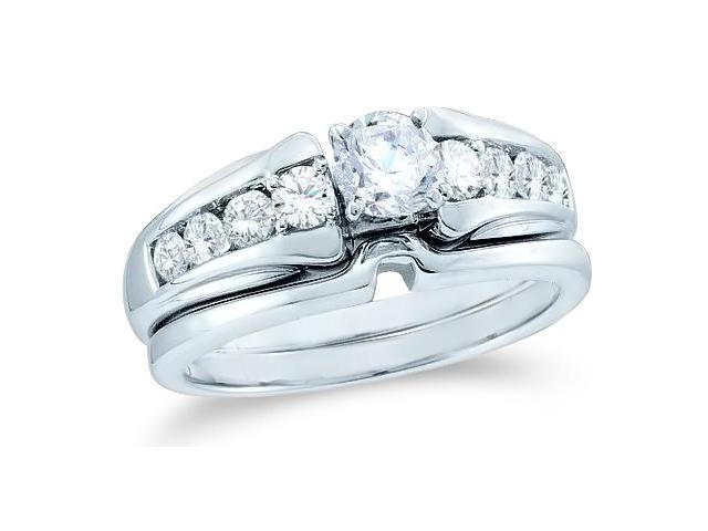 14k White Gold Diamond Classic Traditional Engagement Ring w/ Plain Solid Wedding Band Solitaire Side Stones Round Cut Diamond Ring  (.93 cttw, 0.44 ct Center, G - H Color, SI2 Clarity)