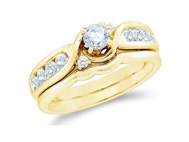 14k Yellow Gold Diamond Engagement Ring w/ Plain Solid Wedding Band Two 2 Ring Set Solitaire Side Stones Round Cut Diamond Ring  (3/4 cttw, 1/4 ct Center, G - H Color, SI2 Clarity)