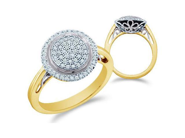10k Yellow Gold Round Shape Center Micro Pave Setting Round Cut Diamond Engagement Ring  (1/4 cttw, H Color, I1 Clarity)