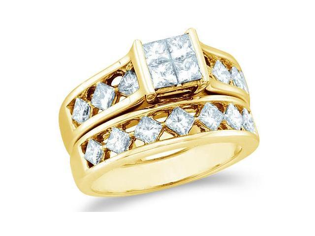 14k Yellow Gold Diamond Engagement Ring Wedding Band Two 2 Ring Set Solitaire Style Center Setting Side Stones Large Princess Cut Diamond Ring  (3.0 cttw, G - H Color, SI2 Clarity)