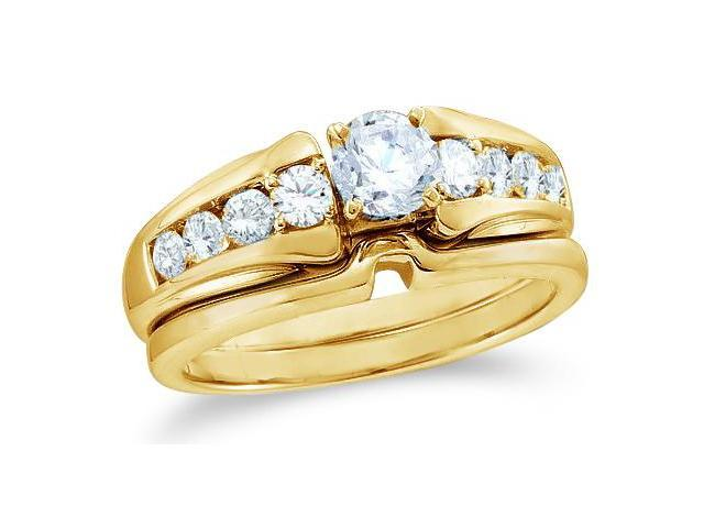 14k Yellow Gold Diamond Classic Traditional Engagement Ring w/ Plain Solid Wedding Band Solitaire Side Stones Round Cut Diamond Ring  (.93 cttw, 0.44 ct Center, G - H Color, SI2 Clarity)