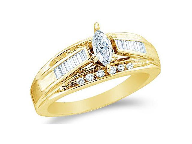 14k Yellow Gold Diamond Engagement Wedding Solitaire with Side Stones Channel Set Marquise , Round & Baguette Cut Diamond Ring  (1/2 cttw, 1/5 ct Center, G - H Color, SI2 Clarity)