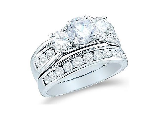 14k White Gold Diamond Ladies Engagement Ring Wedding Band Two 2 Ring Set Three 3 Stone Side Stones Large Round Cut Diamond Ring  (2.50 cttw, 3/4 ct Center, G - H Color, SI2 Clarity)