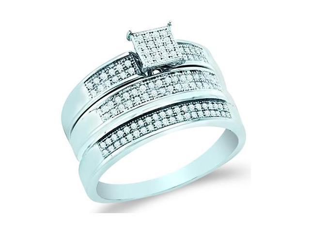 10k White Gold Trio 3 Three Ring Matching Engagement Wedding Ring Band Set - Round Diamonds - Micro Pave Princess Shape Center Setting (1/3 cttw, H Color, I1 Clarity)
