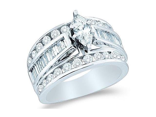 14k White Gold Diamond Engagement Wedding Solitaire with Side Stones Channel Set Large Marquise , Round & Baguette Cut Diamond Ring  (.99 cttw, 1/4 ct Center, H Color, I1 Clarity)