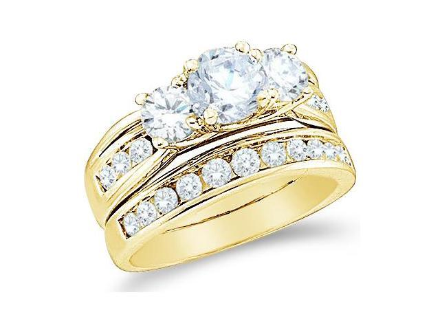 14k Yellow Gold Diamond Ladies Engagement Ring Wedding Band Two 2 Ring Set Three 3 Stone Side Stones Large Round Cut Diamond Ring  (2.50 cttw, 3/4 ct Center, G - H Color, SI2 Clarity)