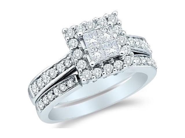 14k White Gold Diamond Engagement Ring Wedding Band Two 2 Ring Set Solitaire Style Center Setting Halo Princess and Round Cut Diamond Ring  (1/2 cttw, G - H Color, SI2 Clarity)