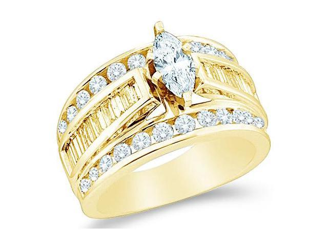 14k Yellow Gold Diamond Engagement Wedding Solitaire with Side Stones Channel Set Large Marquise , Round & Baguette Cut Diamond Ring  (.99 cttw, 1/4 ct Center, H Color, I1 Clarity)