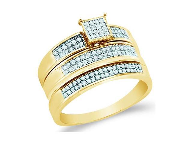 10k Yellow Gold Trio 3 Three Ring Matching Engagement Wedding Ring Band Set - Round Diamonds - Micro Pave Princess Shape Center Setting (1/3 cttw, H Color, I1 Clarity)