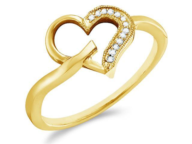10k Yellow Gold Heart Love Shape Pave Set Round Cut Ladies Diamond Fashion Anniversary Ring Band  (.04 cttw, H Color, I1 Clarity)